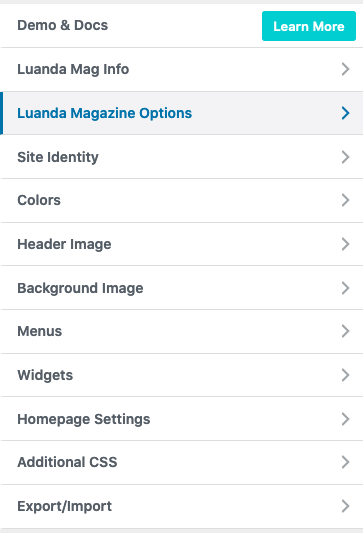 Luanda Magazine Theme Options